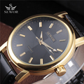 SEWOR Men Fashion Military Hand Wind Mechanical Skeleton Watches Male Leather Strap Golden Black Big Dial Back Cover Glass Clock
