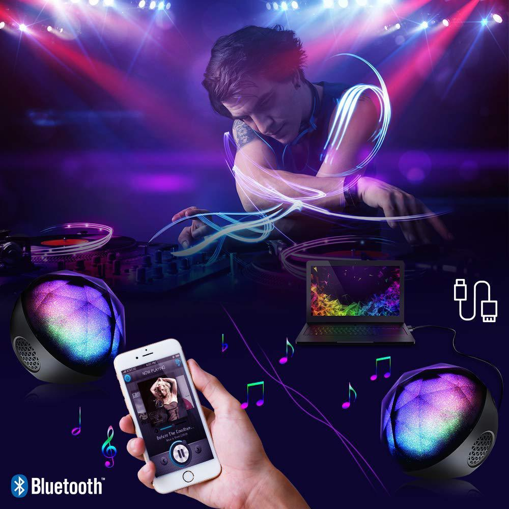 DSstyles Mini Portable LED Colorful Wireless Loud Stereo Sound Bluetooth Speaker with Remote Control for iPhone Samsung