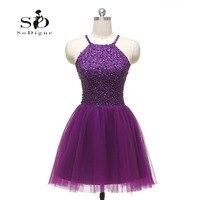 Реальное изображение красивые Бальные платья короткие фиолетовое вечернее платье без рукавов с открытой спиной Формальные платья Vestido festas