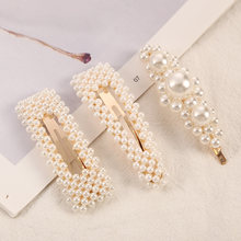 1 PC Woman Elegant Geometric Pearl Hairpins Korean Style Hair Clips Alloy Barrettes Girls Hair Accessories Hair Grips Headwear(China)