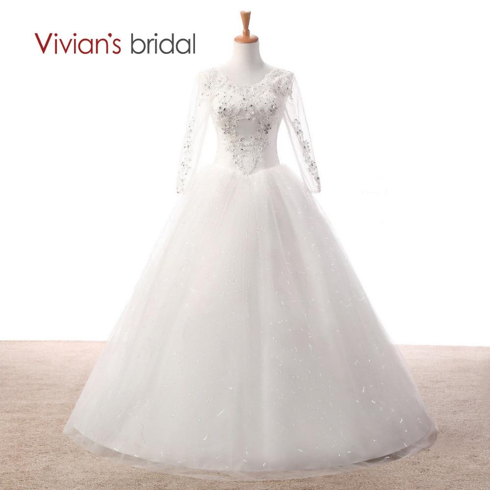 Vivian suknia ślubna dla nowożeńców Biała suknia ślubna z pełnym rękawem Cekinowa suknia ślubna z kryształowego Tiulu WD2501