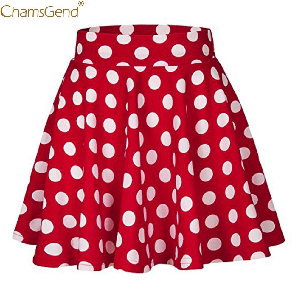 Red Party Cocktail summer skirts for women Dot Printed Skirt High Waist Vintage Pleated Midi Skirt Lady Elegan womens Jun28