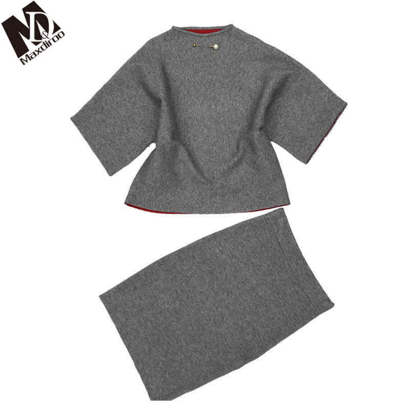 Maxdiroo 6 Colors Two Piece Sweater Set Women Costume Female Pullover Sweat Suit Woman Cashmere Suit Women Suits  Pencil Skirt