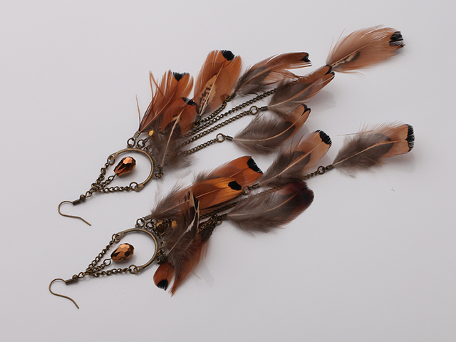 Bronze Plated Real Long Feather Earrings