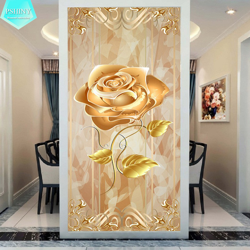 Home Decorators Bedding: PSHINY 5D DIY Diamond Embroidery Gold Rose Flowers Home