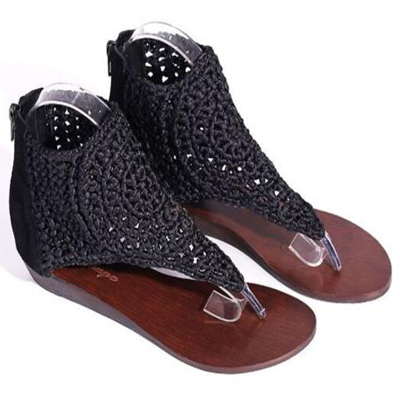 Femmes en cuir véritable haut Top tongs 2019 nouveauté mode Sexy talons plats respirant cheville Wrap Lady sandales taille 32-43 - 4