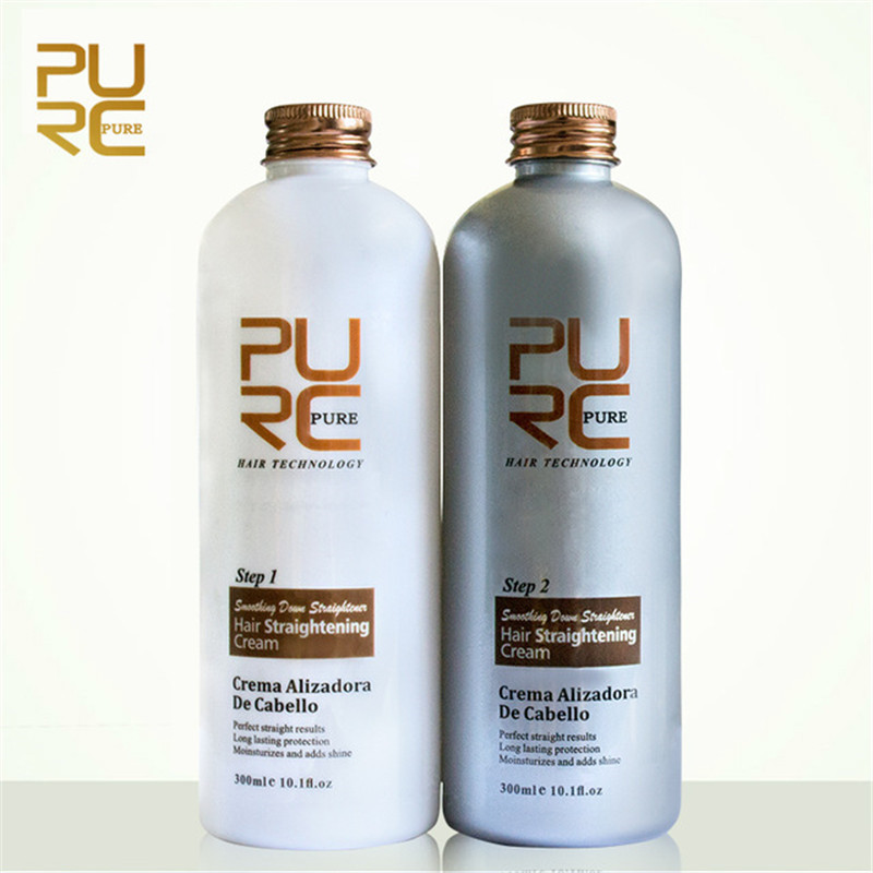 Hot Sale PURC Hair Straightening Cream Set Straighten Hair Moisturize Keep Hair Thick Fluffy Suppleness And Shiny 300ML+300ML