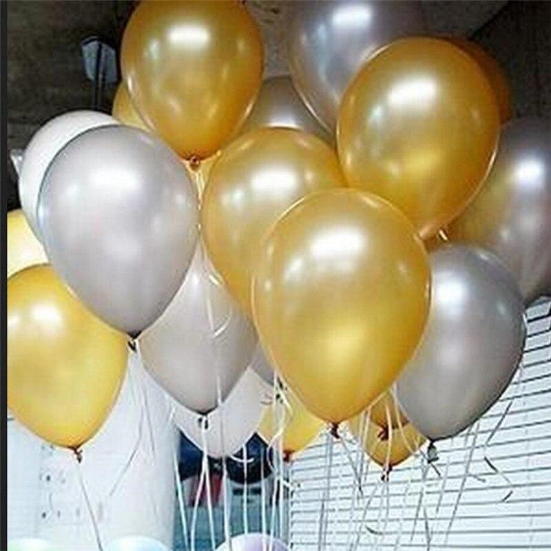 50 pcs/lot 12 pouce 2.8g Latex ballon D'hélium ballons Ronds Épais Perle or argent ballons De Fête D'anniversaire De Mariage Bébé