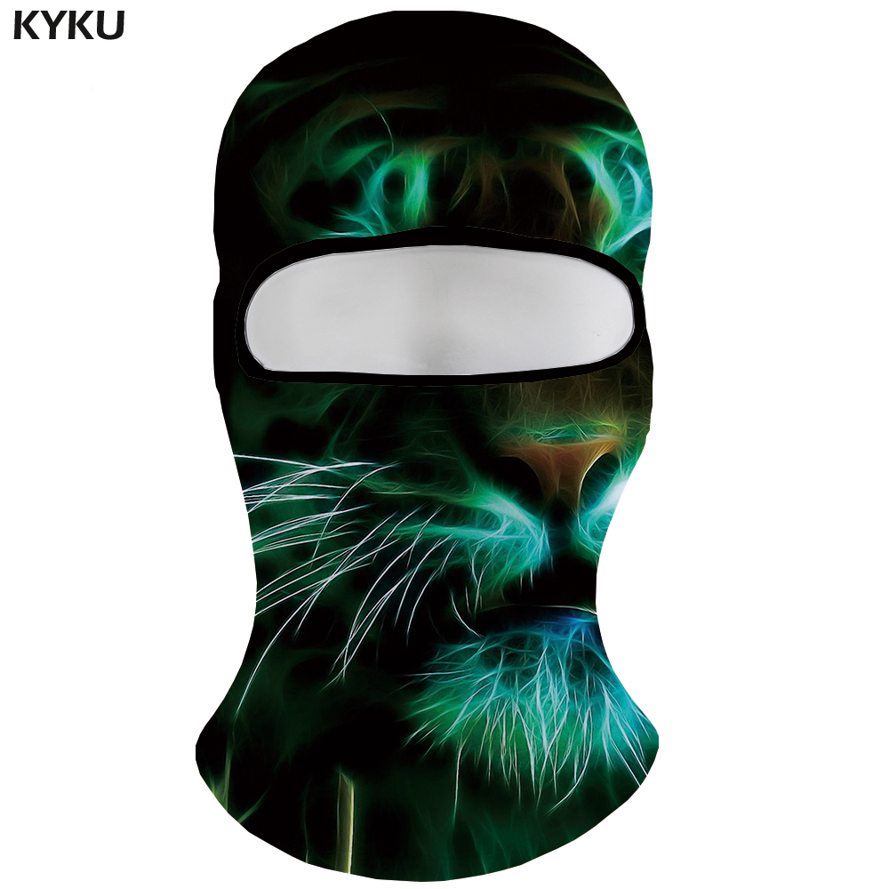 KYKU Brand Tiger   Skullies     Beanies   Men Green Hats Psychedelic 3d Printed   Beanie   Animal Bicycle Mask Balaclava Casquette