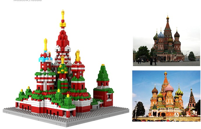 NEW mini diamond building block world Famous Places architecture 3D Russia Saint Basil's Cathedral model nanoblock for kid Gift loz mini diamond building block world famous architecture nanoblock easter island moai portrait stone model educational toys