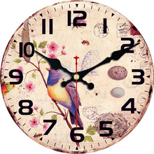Owl Large Magpie Decorative Round Birds Wall Clock Living Room Wall Decor Saat Fashion Silent Vintage Watch Wall New Year Gift