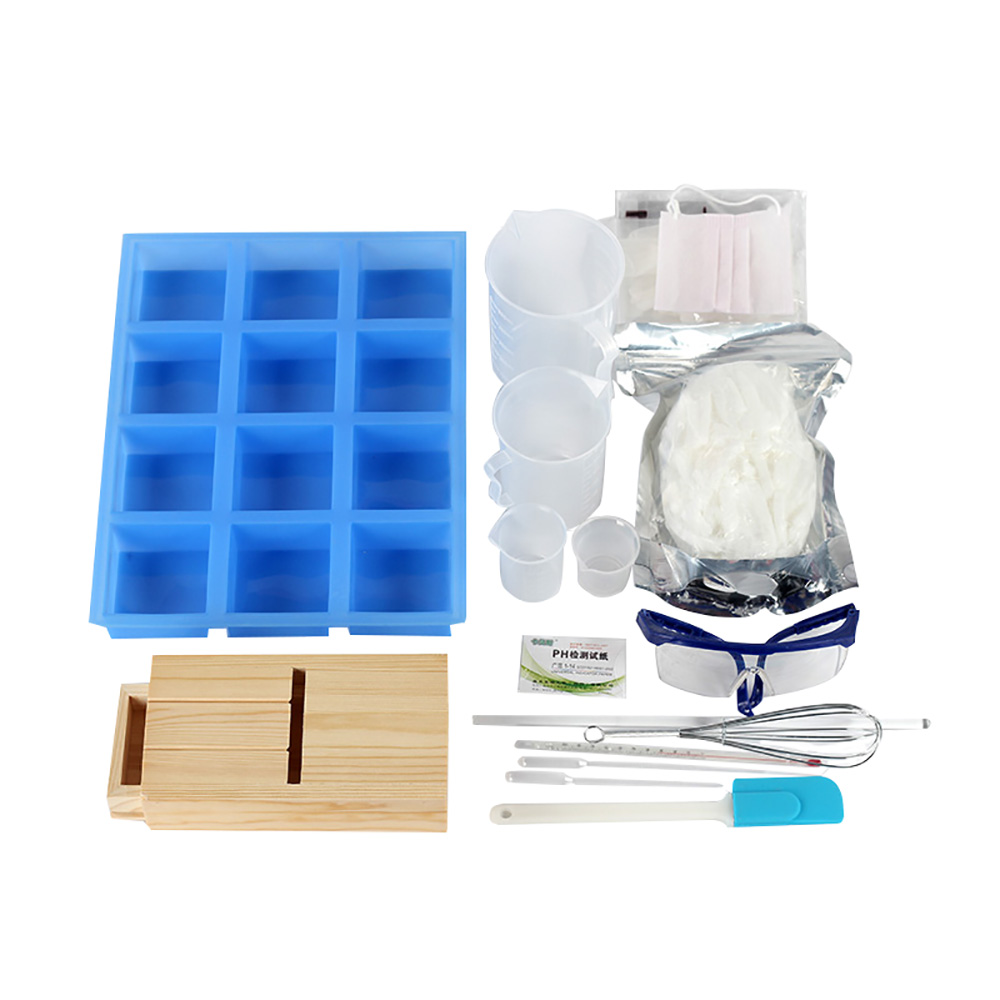Comprehensive Soap Making Tools Set Handmade 12-Cavity Silicone Mold Planer Wood Box And Many More