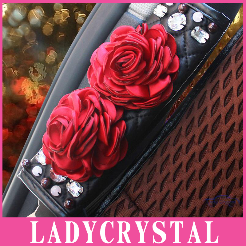 Ladycrystal 1PCS Luxury Diamond Rhinestone Covered Seat Safety Belt Covers For Car Rose CarStyling Seat Belt Shoulder Padding