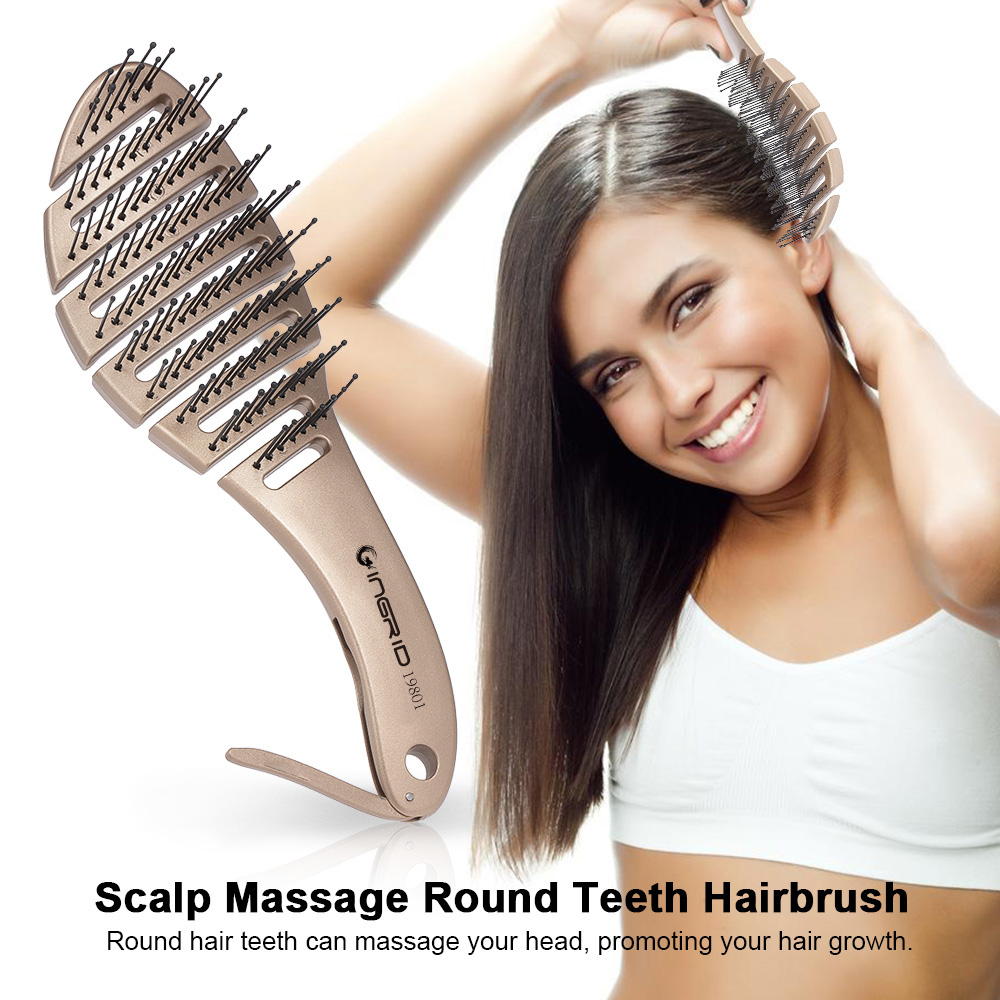 Anti-static Hair Brush Comb Scalp Massage Hair Massage Combs Round Teeth Hairbrush For Curly Straight Hair Salon Styling Tools