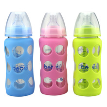 240ml Brand Maternal And Child Supplies Crystal Diamond Glass Wide Caliber With Anti-drop Silicone Sleeve Baby Bottle YH