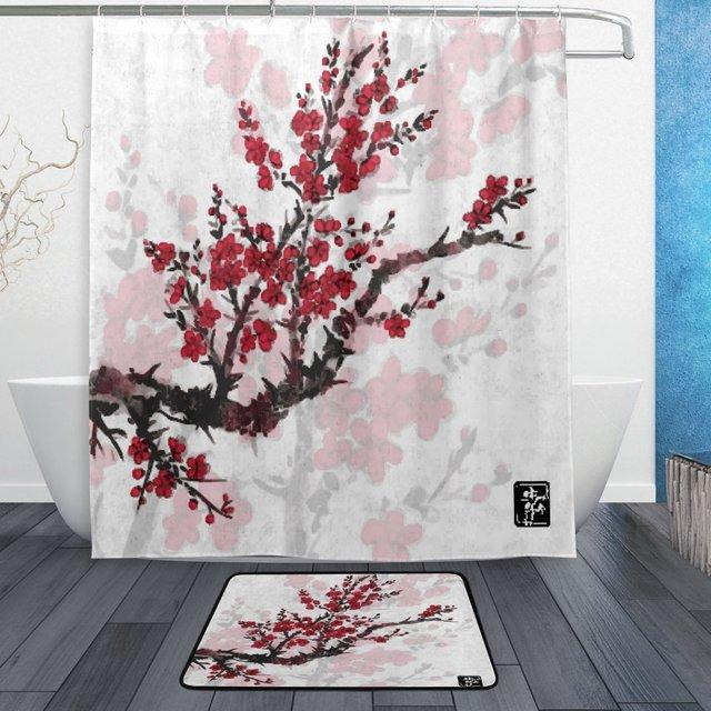 Asian Japan Japanese Shower Curtain And Mat Set Oriental Sakura Cherry Tree Waterproof Fabric Bathroom