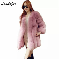 Chic Winter Bomber Faux Fur Long Coat Fox Fur Warm Thicken Outerwear Mink fur strip sewed together Jacket shaggy Trench Coats