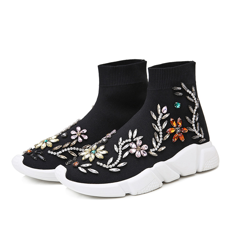 Ins Super Fire Autumn Women Wool Thick-soled Socks Short Boots Color Diamond High Help Stretch Sports Casual Shoes Sneakers WK93Ins Super Fire Autumn Women Wool Thick-soled Socks Short Boots Color Diamond High Help Stretch Sports Casual Shoes Sneakers WK93