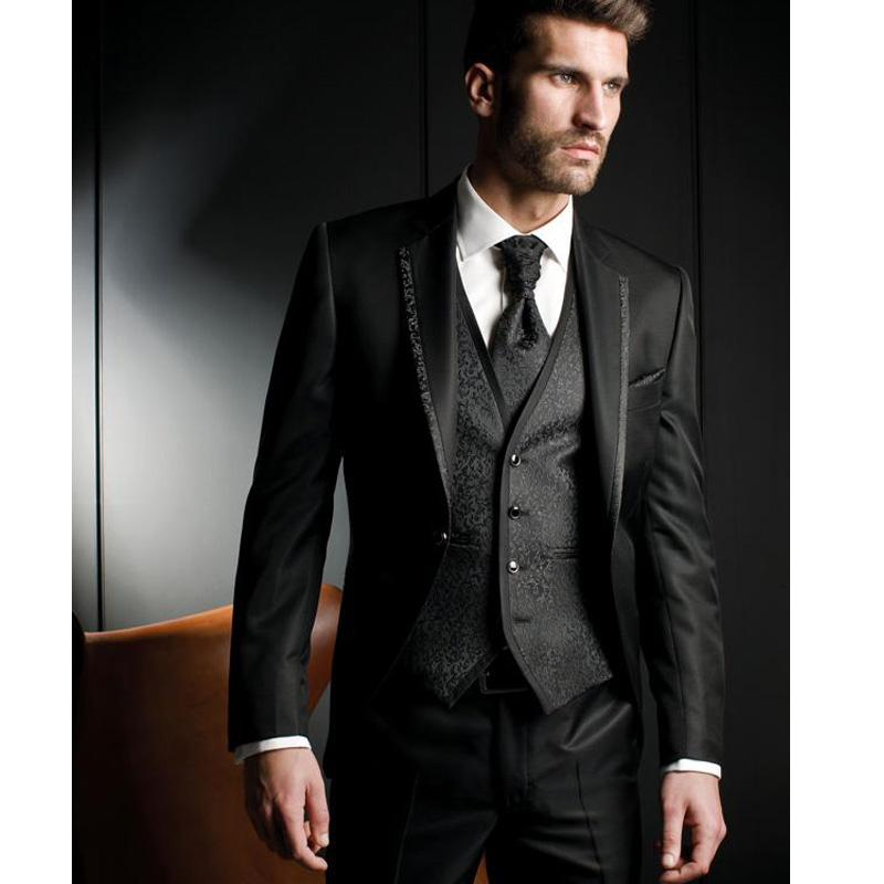 Black Harringbone Slim Fit Men Suits 3 Piece Custom Groom Tuxedos For Wedding Prom Party Men Stage Clothes Set Jacket Pants Vest