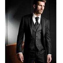 Black Harringbone Slim fit Men Suits 3 Piece Custom Groom Tuxedos for Wedding Prom Party Men