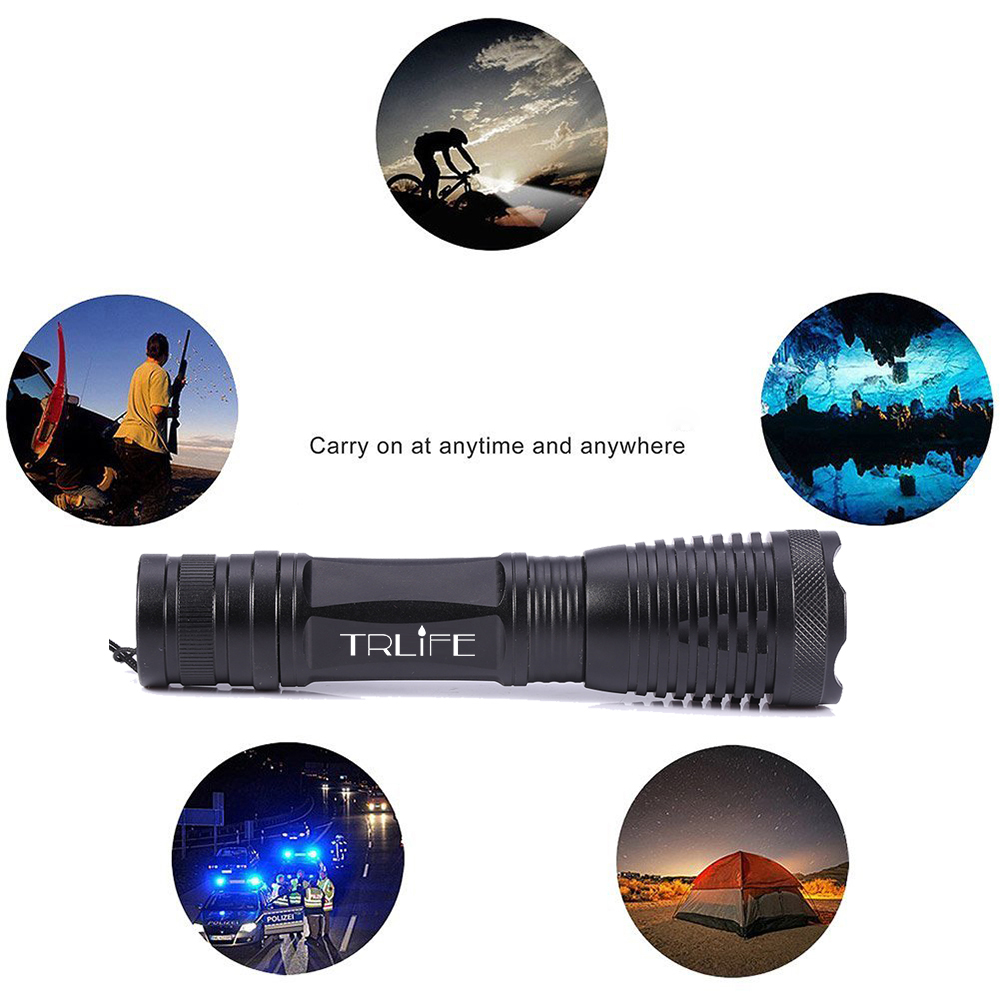Lanterna 10000lumens Adjustable Tactical Zoomable LED Flashlight L2 T6 V6 LED light Torch 18650 Battery Charger Holster Giftbox in LED Flashlights from Lights Lighting
