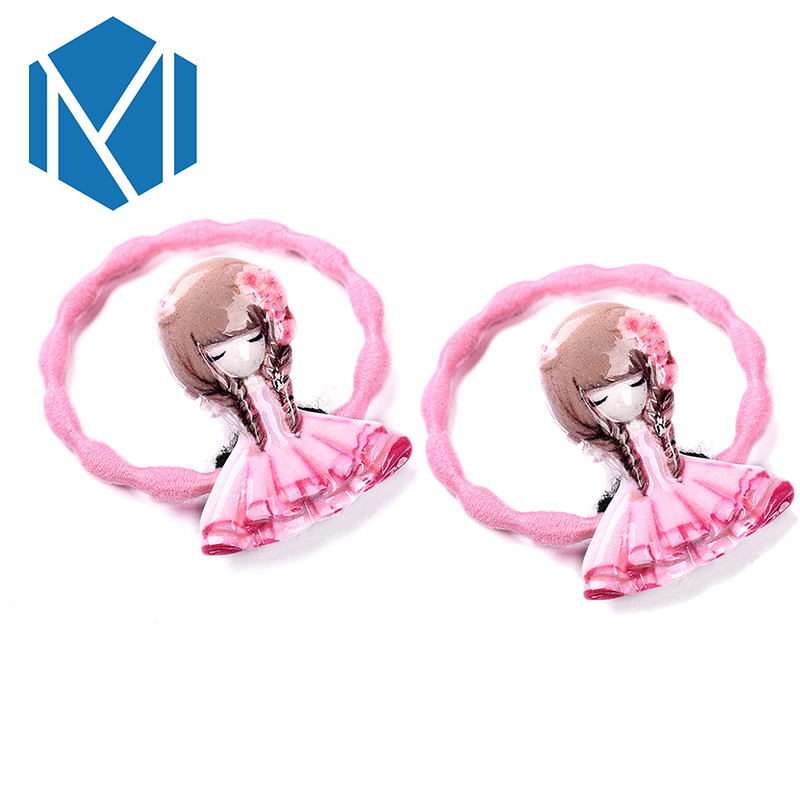 M MISM 1 Set=2Pcs Kids Girls Lovely Elastic Hair Bands High Quality Scrunchy Floral Rubber Bands Dolls Gum for Hair Accessories m mism new arrival korean style girls hair elastics big bow dot flora ponytail rubber hair rope hair accessories scrunchy women