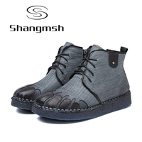 Shangmsh Women Winter Boots 2017 Retro Handmade Genuine Leather Ankle Boots Soft Casual Ladies Autumn Fashion