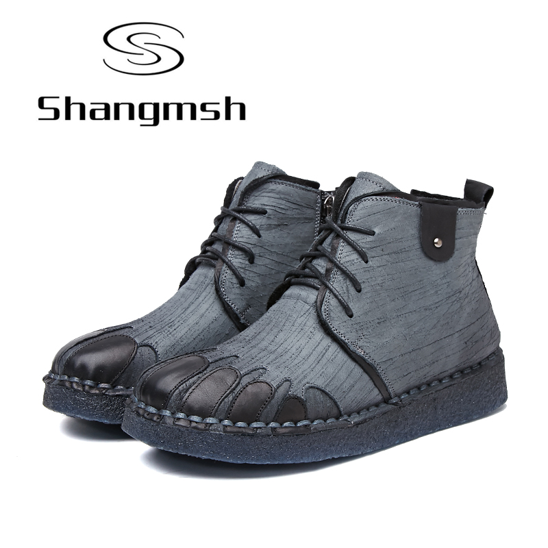 Shangmsh Women Winter Boots 2017 Retro Handmade Genuine Leather Ankle Boots Soft Casual Ladies Autumn Fashion Shoes Plus Size 42 shangmsh brand women s winter boots 2017 retro handmade genuine leather ankle boots soft casual ladies autumn shoes