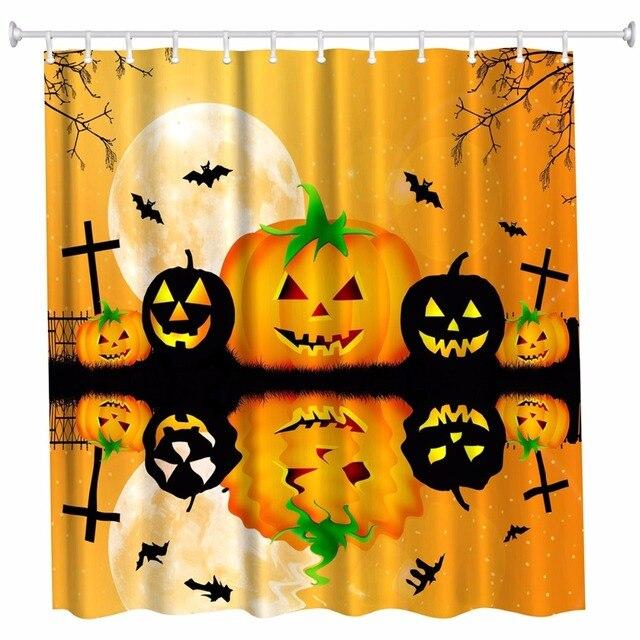 3D Pumpkin Halloween Bathroom Bathing Shower Curtains Waterproof Polyester Fabric Bath Harvest Cortinas De Bano 12hooks