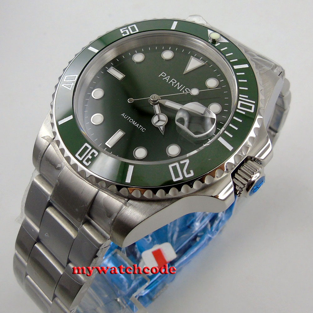 40mm Parnis quadrante verde MIYOTA movimento automatico vetro zaffiro Mens Watch P56940mm Parnis quadrante verde MIYOTA movimento automatico vetro zaffiro Mens Watch P569