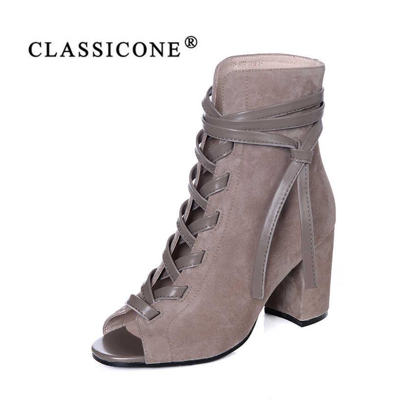 cb681a4d7 CLASSICONE женская обувь 2018 весна осень новинка ботинки ботильоны на  шнуровке сапоги высокий широкий каблук натуральная