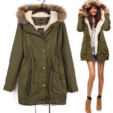 2016 Новый зима Женщины Тонкий армия зеленый с капюшоном меховой воротник пальто толстый ватник