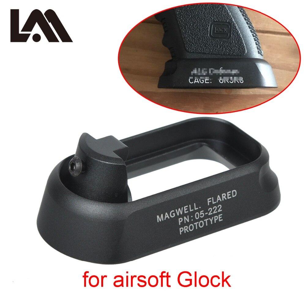 Tactical ALG defensa Flared Magwell para pistola Airsoft Gen3 Glock 17 18C 24 31 34 35 cargador de velocidad montaje caza accesorios