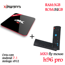 Finest 3/32GB set top box Octa Core Android 7.1 2.4 G/5.8 GHz Wifi HD2.0 4k 2160 p HDR 100/1000M BT4.0 KODI173 android television box