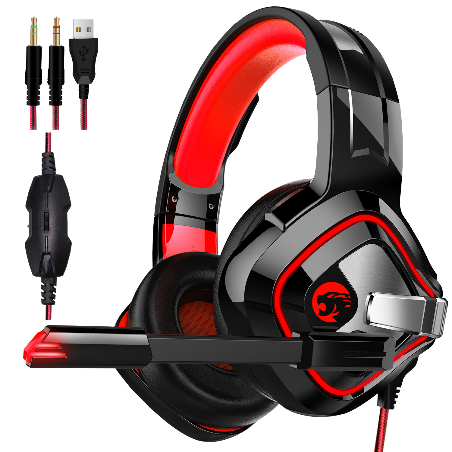 Gaming Headset PS4 K8 Stereo Xbox one Headset Wired PC Gaming Headphone with Noise Cancelling Mic,Over Ear Gaming Headphones for PC//MAC////PS4//New Xbox One//Laptop