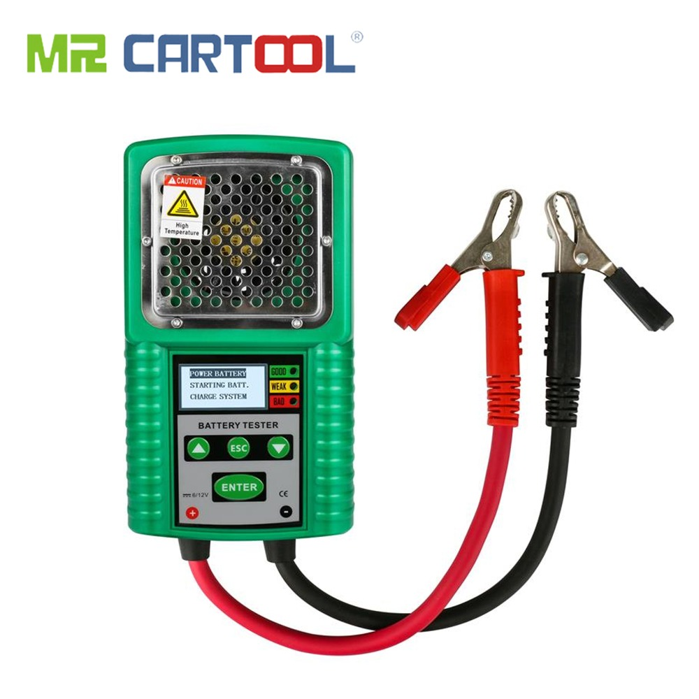 MR CARTOOL 3 In 1 Car Battery Tester Traction 6V 12V DC Auto Power Load Starting