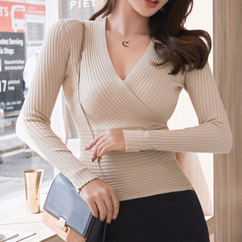 2019 New Sexy Deep V Neck Sweater Women's Pullover Casual Slim Bottoming Sweaters Female Elastic Cotton Long Sleeve Tops Femme 1
