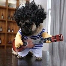 Забавные полиэстер зимняя одежда для питомца гитары плеер косплэй костюм куртка для собаки для рождественской вечеринки одевание гитарист Одежда для кошек собак