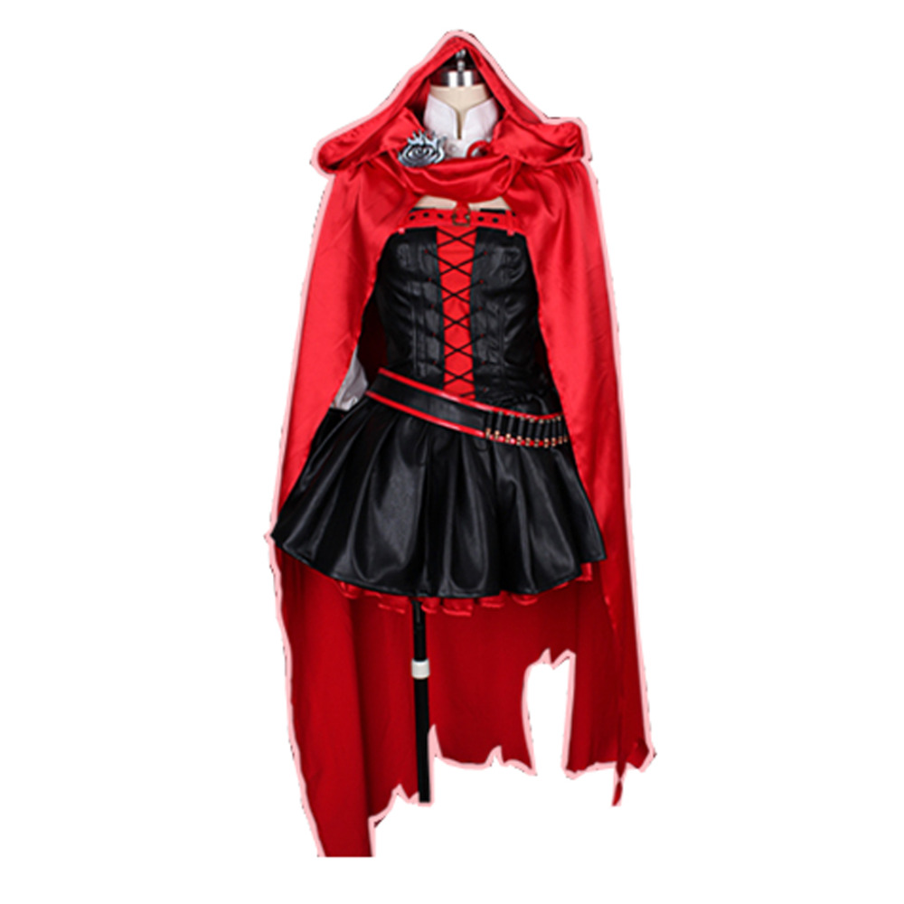 ᐊ2016 anime ruby rose cosplay rwby red dress cloak battle uniform