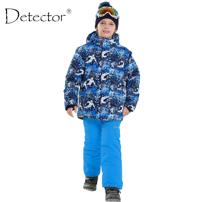Detector Boys Winter Waterproof Windproof Ski Sets Kids Warm Ski Jacket Children Outdoor Hooded Snowboard Sports Suits