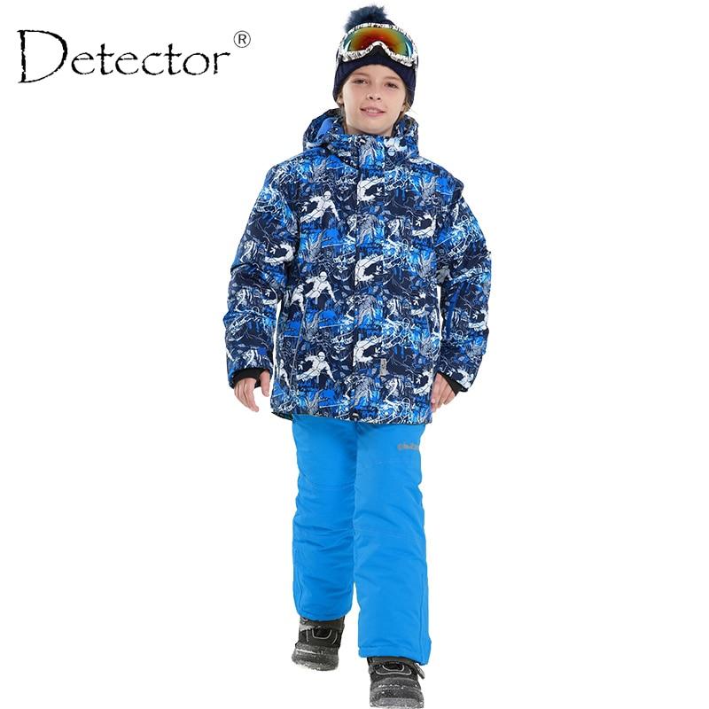 Detector Boys Winter Waterproof Windproof Ski Sets Kids Warm Ski Jacket Children Outdoor Hooded Snowboard Sports Suits