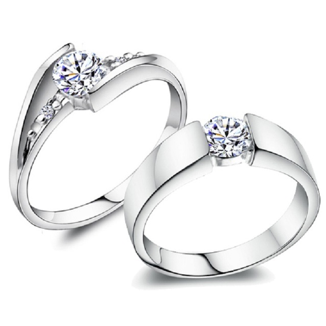 5%Off Uloveido 2Pcs Silver Color Cubic Zirconia Wedding Commitment Rings for Women Pair Engagement Ring Men Jewelry Size 12 J045