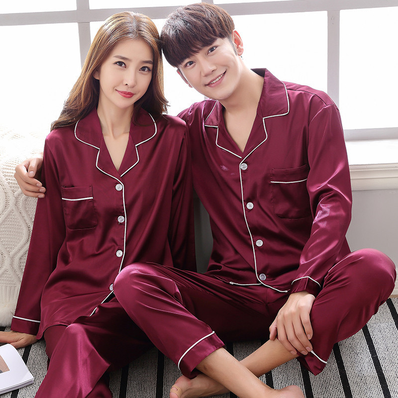 Image 5 - BZEL Silk Satin Couples Pajamas Set For Women Men Long Sleeve Sleepwear Pyjamas Suit Home Clothing His and hers Clothes Pijamas-in Men's Pajama Sets from Underwear & Sleepwears on AliExpress