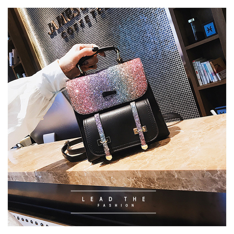 Backpack women 2019 new fashion student backpack Korean sequin travel bag trend bags shoulder bag Bags for Women in Backpacks from Luggage Bags