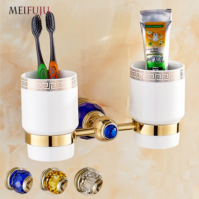 Luxury Bathroom Cup Holder Toothbrush Tumbler Holder Golden