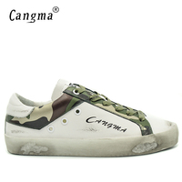CANGMA Italian Designer Brand Men Shoes Casual White Genuine Leather Footwear Camouflage Male Adult Retro Handmade