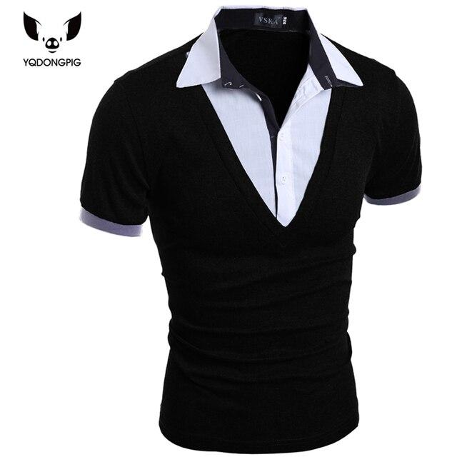 Mens camisa de polo marcas 2016 masculino corto manga de la manera ocasionales adelgazan falso de dos botones hombres polos camisetas 2xl poru