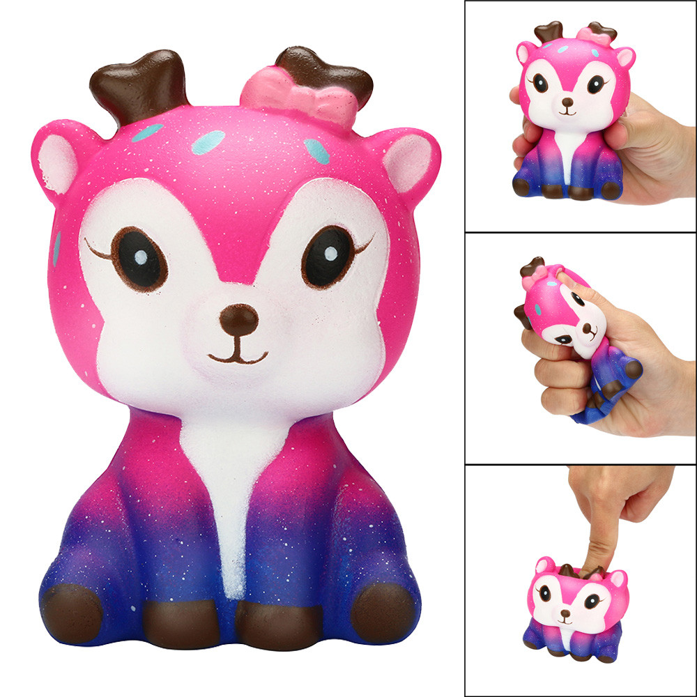 цена на Toys For Children Kawaii Cartoon Galaxy Deer Squishy Slow Rising Cream Scented Stress Reliever Antistress Toy
