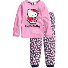 Pink Hello Kitty Baby Girls Pajamas Suits 2017 Long Sleeve Children Sleepwear Wholesale 30sets/lot 2-7Years Kids PJ'S Pyjama