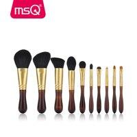 MSQ Pro 10 шт. набор кистей для макияжа с козьей шерсти Медь наконечником и Elm деревянной ручкой Пудра кисть для теней наборы